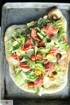 Salmon Cesar Salad Pizza by Heather Christo.