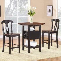 Homelegance Atwood 2505BK-36 3-Piece Counter Height Casual Dining Set, Black and Espresso Finish