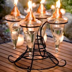 5 Piece Aurora Tabletop Torch Set with Stand