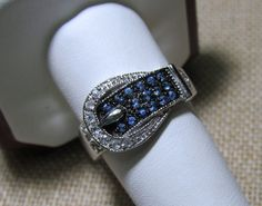Sterling Silver Buckle Ring with Blue Topaz Size 9, , to purchase double click on picture.