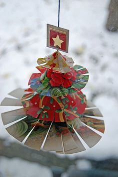 recycled christmas card craft!  Makes for great ornaments and decorations!