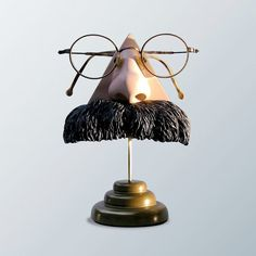 Eyewear Display Art Object, Nietzsche Nose Eyeglass figurine, men, eyeglasses accessory, unusual, fun, funky, Father