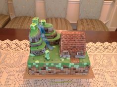 Homemade MineCraft cake.