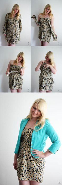 Women fashion: DIY - No sew blouse to dress