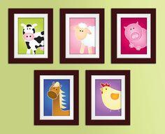 Set of 5 8x10 Farm Series Prints. Farm nursery art. Children's art. Kids art. Farm nursery decor. Farm animal wall art.. $87.00, via Etsy.