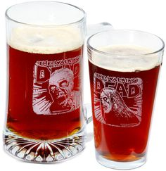 The Walking Dead etched glassware