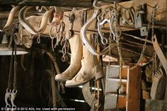 Sun-bleached leather boots and horse riding equipment remind visitors of the towns Old West connections    Read more: http://www.dailymail.co.uk/news/article-2182753/Stagecoaches-outhouses-general-stores-Inside-preserved-American-ghost-town-left-untouched-70-years.html#ixzz22QlSR5eY