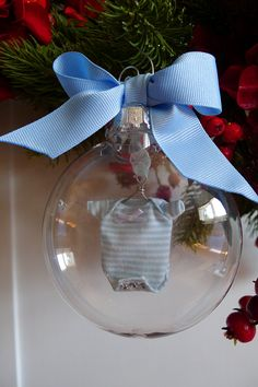 oooh I have some of these clear baubles and some of those teency onesies from an old scrapbooking sticker set. IDEAS :)