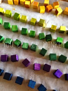 Make your own colourful blocks.  To see more and for ideas of how to play with them, visit www.youclevermonkey.com/