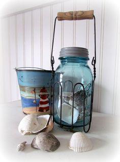 Old beach pail, Mason jar and vintage wire holder