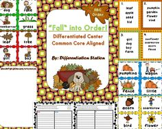 Free!!  A fall themed, differentiated center/game that focuses on putting words into ABC order. This game is great for 1st and 2nd graders of differing abilities. It is also appropriate for a school or homeschooled setting, as well as, for special education instruction. In one center, students are able to physically manipulate the words to help make the activity more concrete.