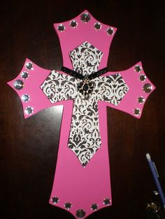 hot pink wooden cross with black/white damask by ashtonrivardo, $24.00