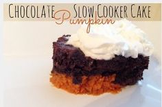 This recipe for Slow Cooker Pumpkin Chocolate Cake is the perfect recipe to make as the leaves begin to change. Pumpkin chocolate cake like this one is sure to be a crowd-favorite no matter where you serve it because of its classic flavors.