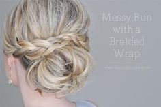 DIY Wedding Hair : DIY Messy Bun with a Braided Wrap