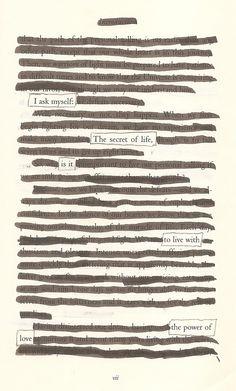 The Secret of Life- Blackout Poem by Kevin Harrell www.blackoutpoetry.net