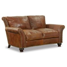 American Furniture Warehouse -- Virtual Store -- 4758 LOVE OUTLAND RNCH/22000 1A-4758L Brown All Leather Loveseat Soft Line America, Llc
