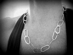 Hand wrought large link sterling silver chain by JoDeneMoneuseJewelry