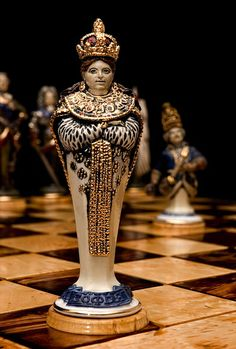 White chess queen. Princess Sophia. Porcelain, gilding. Height 17 cm