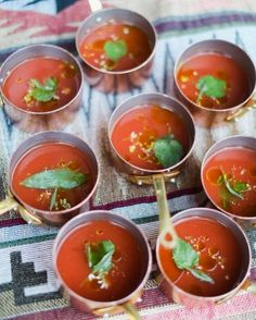 Mini copper pots of summer gazpacho kicked off this summer meal.