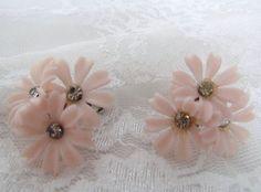 Retro Earrings Flowers Pink Plastic Jewelry by VintagePolkaDotcom, $9.00