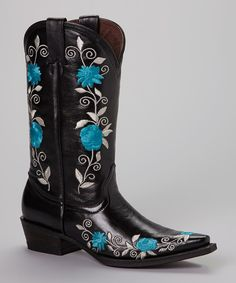 Loving this Pecos Bill Black & Blue Embroidered Cowboy Boot - Women on #zulily! #zulilyfinds