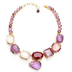 Amethyst, Rose Quartz & Ruby Necklace with Removable Drops