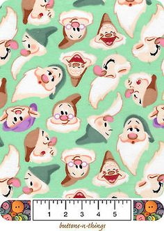 SEVEN DWARFS Cotton Flannel Fabric By the Yard $11.49