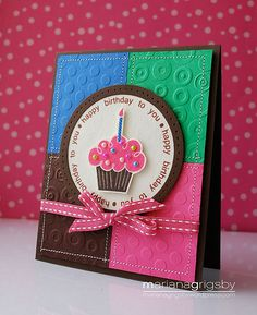 Cute embossing! color combo, birthday cupcakes, happy birthday cards, colorful cards, embossed birthday cards, cricut cards birthday, bright colors, cupcake card ideas, birthday ideas