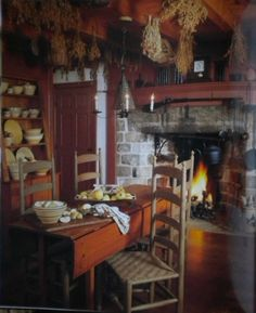 ~♥~ dining rooms, chair, dine room, fireplac, fall prim, primit countri, coloni, primitive country, countri style