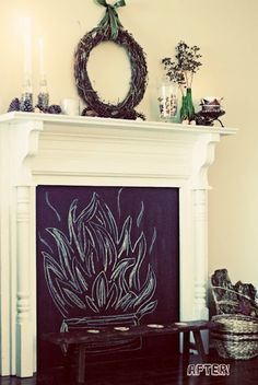Have a non-working fireplace install a chalk board
