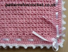 Pretty Pram Blanket Free Crochet Pattern from http://www.patternsforcrochet.co.uk/baby-pram-cover-blanket-usa.html very simple and easy stitch, pretty when made.