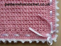 Free baby afghan blanket crochet pattern from http://www.patternsforcrochet.co.uk/baby-pram-cover-blanket-usa.html #freecrochetpatterns #patternsforcrochet