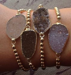 Various Druzy Bracelets with 14kt Gold Plated Beads - Druzy Charm - All Natural Druzy Bracelet