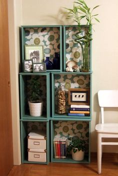 Mod Podge modular drawers to shelf
