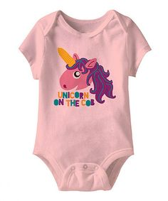 Pink 'Unicorn on the Cob' Bodysuit - Infant by American Classics on #zulily