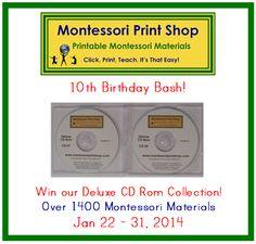 Win the CD Collection birthday bash, 10th birthday, montessori materials, print shop, montessori printabl