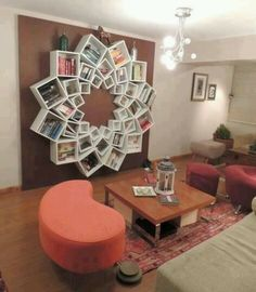 Diy wall art with bookshelves 12 large 12 medium and 12 small really easy just buy at ikea