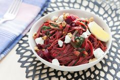 Fresh Beet Pasta with Swiss Chard, Goat Cheese & Walnuts - skip the butter and use good olive oil for taste and the goat cheese if you're in the 21-day phase...