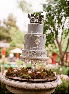 #Rustic #gray #wedding #cake - LOVE!