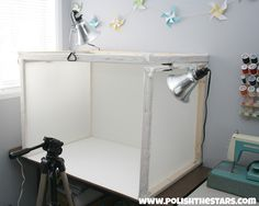 Over in the corner I built a photography light box so that I could take better photos of my projects. Under the table is where I store all of the shipping supplies for my Etsy shop. One of these days I will probably get around to making some kind of cute skirt to hide all of that.