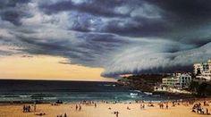 Storm sweeps over Bondi Beach