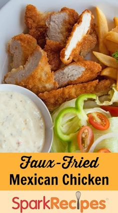 Crispy Faux-Fried Chicken: This easy recipe will be a new favorite--you won't miss the fat and oil! | via @SparkPeople #food #dinner #healthy #diet