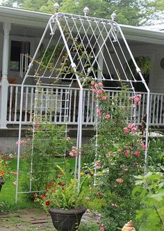 Rose arbor made from an old iron baby crib