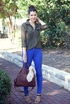Love this color combo - colored jeans for fall