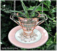 Pink Depression Glass Hanging Vase Whimsy  by GardenWhimsiesByMary