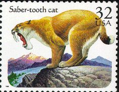 Saber-tooth cat  1996 USA postage stamp