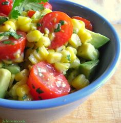 For the Love of Cooking » Grilled Corn, Avocado and Tomato Salad with Honey Lime Dressin  Add a dash of cayenne to the dressing
