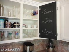 Paint the inside of your kitchen cabinet with chalkboard paint