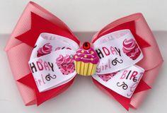 Cupcake Light and Dark Pink Birthday Girl Ribbon Hair by bowsforme, $7.49