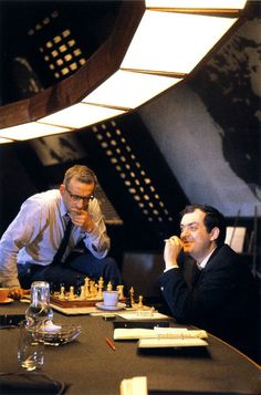 Stanley Kubrick & George C. Scott playing chess on the set Dr. Strangelove (1964)